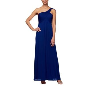 Women's Alex evenings black one shoulder dress